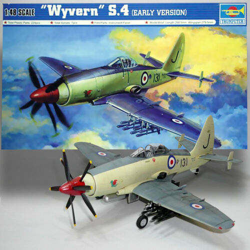 Trumpeter 02843 1/48 1:48 Scale Wyvern S.4 Early Version Fighter Plane Airplane Aircraft Toy Plastic Assembly Model Kit artwox trumpeter 05607 u s cv 3 saratoga aircraft carrier wooden deck aw10120