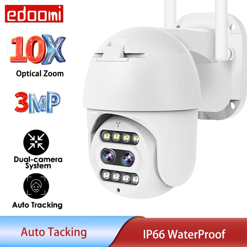 3-мегапиксельная IP-камера с Wi-Fi, система с двумя объективами, цветное ночное видение, PTZ, Домашняя безопасность, 10X оптический зум, CCTV P2P, скоростной купол с автоматическим отслеживанием IP66