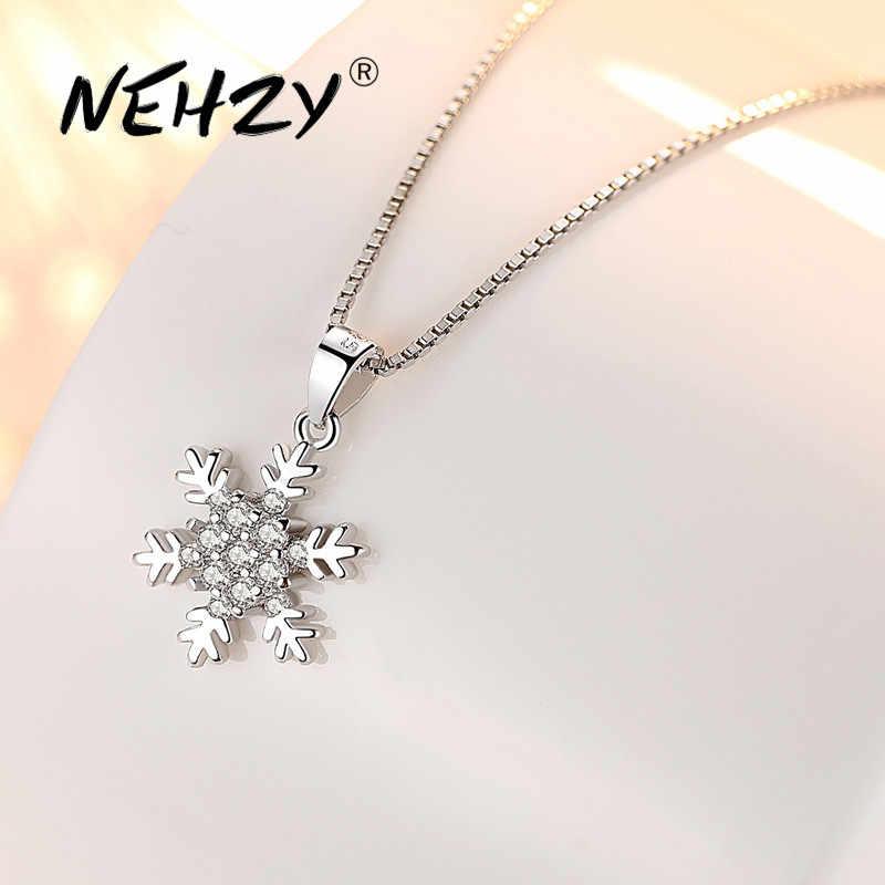 Nehzy 925 Sterling Silver Women S Fashion New Jewelry High Quality Crystal Zircon Flower Retro Simple Pendant Necklace Long 45cm Pendants Aliexpress