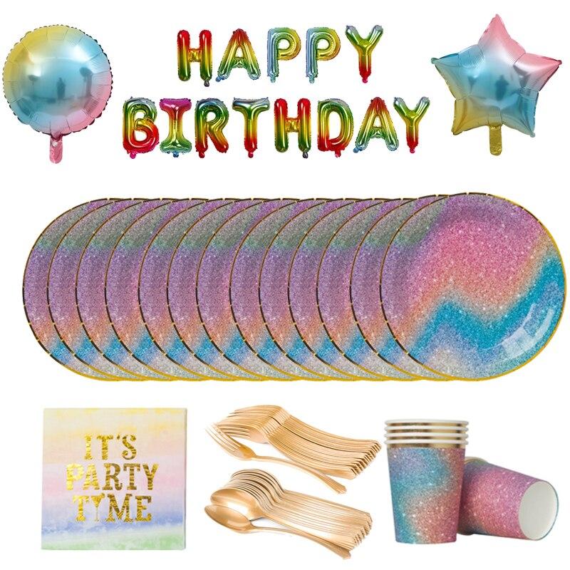 Сияющая звездное небо тематическая вечеринка на день рождения одноразовая посуда Набор радужных цветных бумажных тарелок чашка салфетка Л...