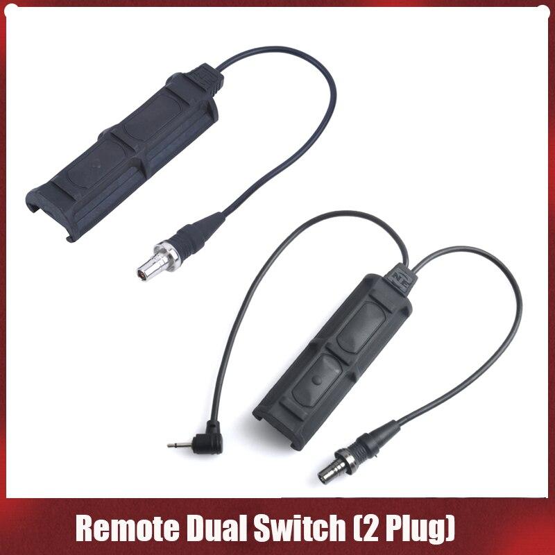 Softair PEQ interruptor remoto Dual 2 enchufe militar presión Pad interruptor para PEQ M3X táctico Airsoft linterna Accesorios