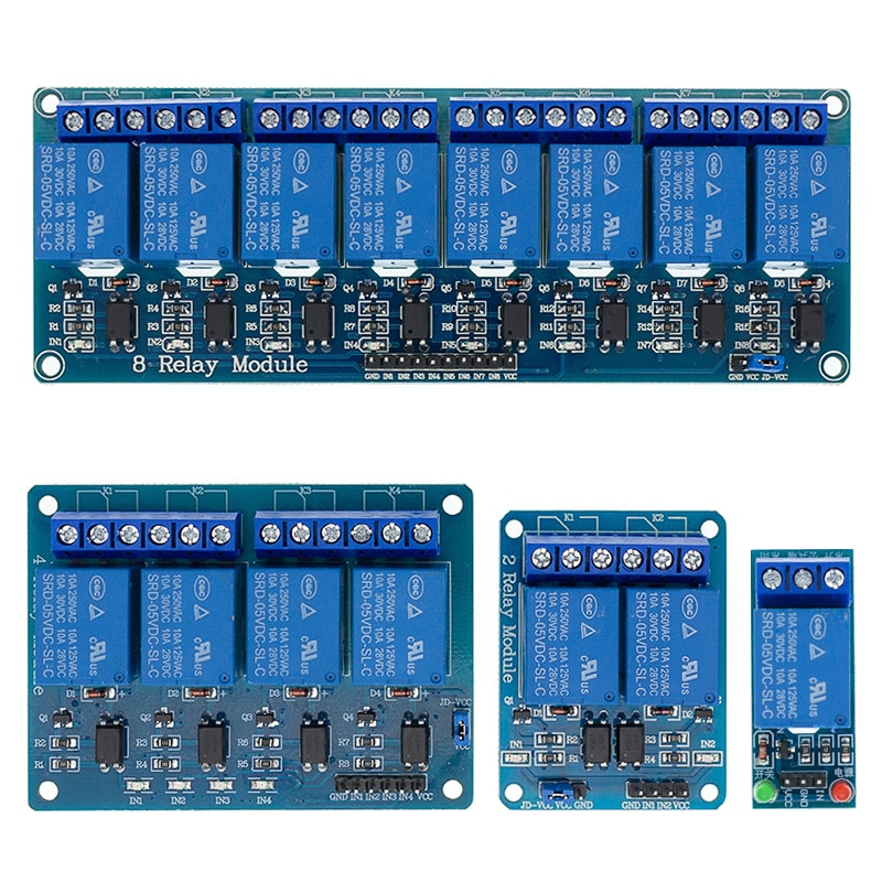 1 2 4 8 channel 5V relay module with optocoupler. Relay Output 1 2 4 8 way relay module  In stock  For ARDUINO