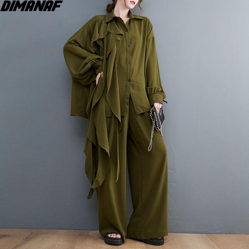 DIMANAF 2021 المرأة قطعتين مجموعة عادية الشرابة بلوزات من الدانتيل قمصان الخريف فضفاض بنطال ذو قصة أرجل واسعة المتضخم الربيع الصيف المعتاد