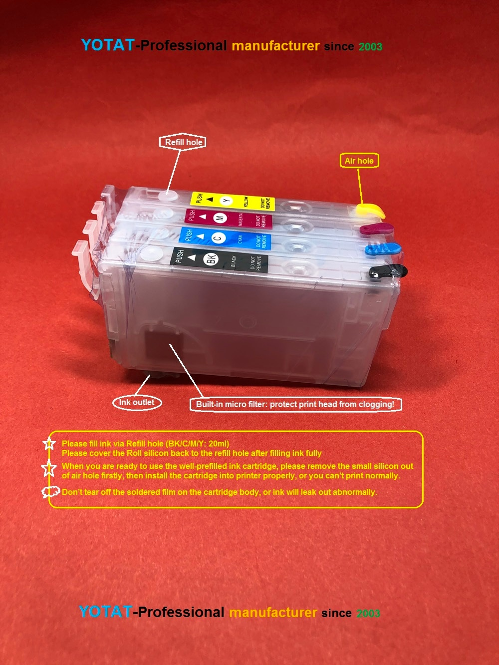 YOTAT Refillable 405 T405XL Ink Cartridge for Epson Workforce WF-3820 /WF-4820/WF-4830/WF-7830/WF-7835/WF-7840