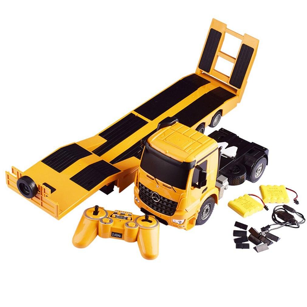 Coche de Control remoto eléctrico mercedes-benz remolque de cama plana gran vehículo de ingeniería coche de Transporte Camión de juguete para niños