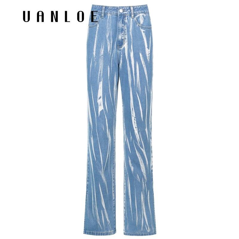 بنطلون جينز مستقيم للنساء مطبوع من uanloeجرافيتي عالي الجودة من قماش الدنيم y2k ذو تصميم بوي فريند بنطلون غير رسمي فضفاض