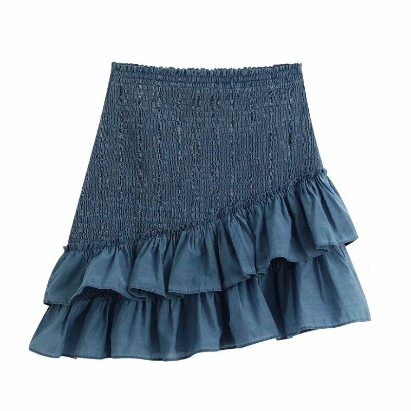 Solid Women Cascading Ruffle Hem Stretch Mini Skirt 2020 New Fashion Casual Lady Skirts P1573
