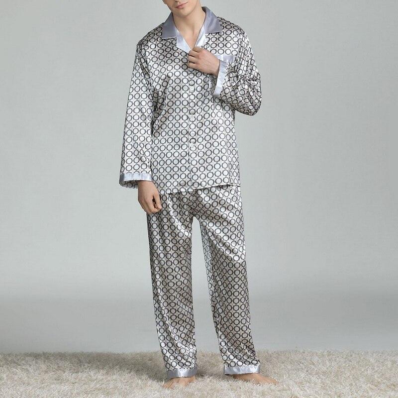 Мужские Пятно Шелк Пижама Комплекты Пижамы Мужчины Пижамы Модерн Стиль Шелк Ночная рубашка Домашний Мужской Атлас Мягкий 2021