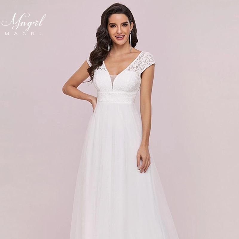 MNGRL White Simple Wedding Dress Chiffon Full-length V-neck Short Sleeve Bridal Dresses Zipper Wedding Gown 2021