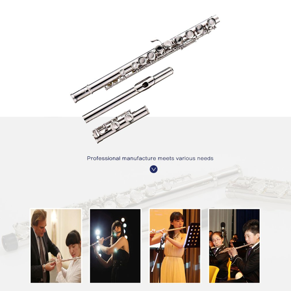 New Flute Professional C Key 16 Hole Silver Plated Cupronickel With Cleaning Kit Instrument Musical Instruments Accessories enlarge