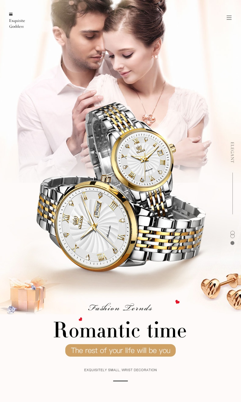 Couples Watch OLEVS Fashion2021 Quality time,Quality Watches