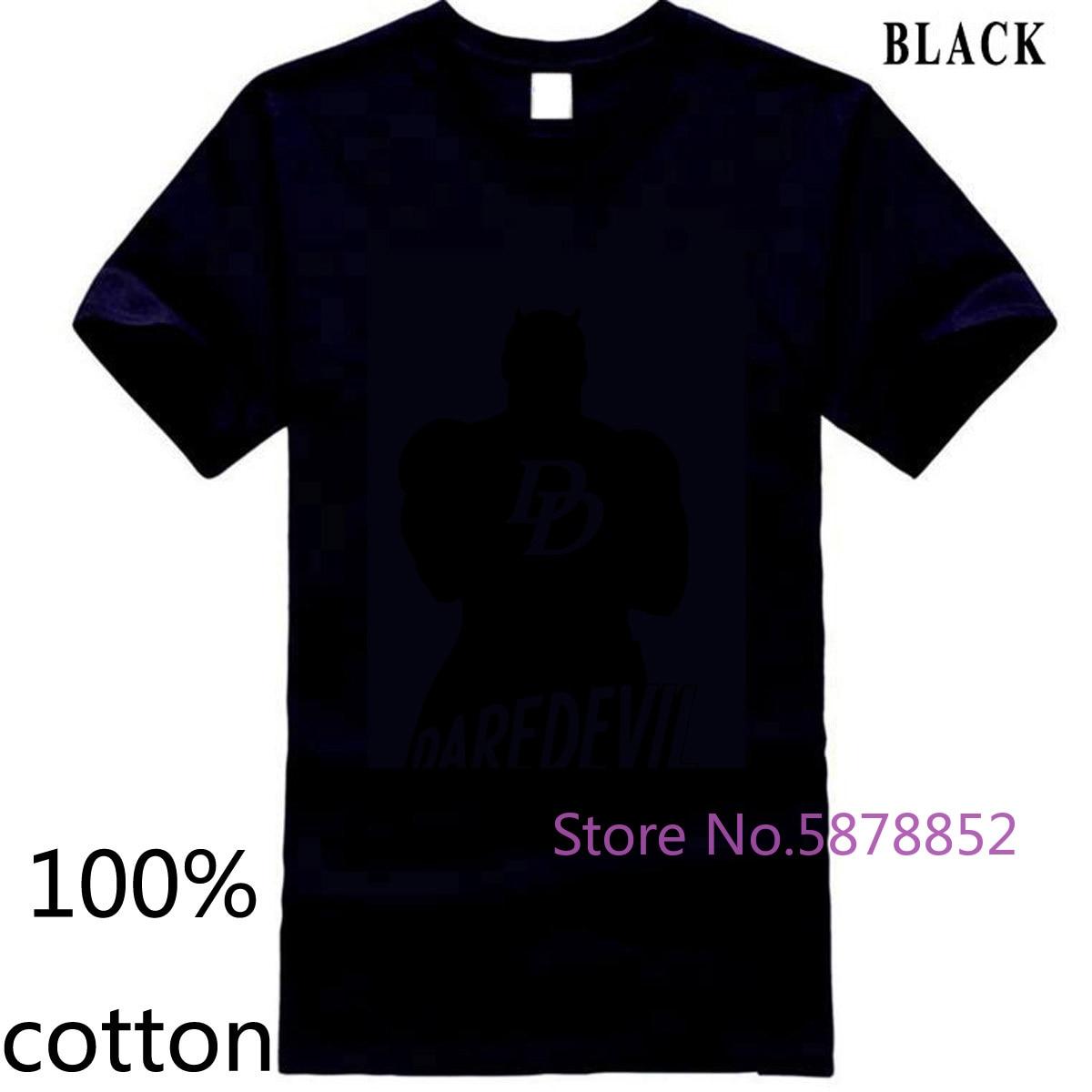 Oficial Marvel Comics Daredevil silueta superhéroe Cox nuevo Merch hombres película hombres camiseta tops camisetas 100% algodón
