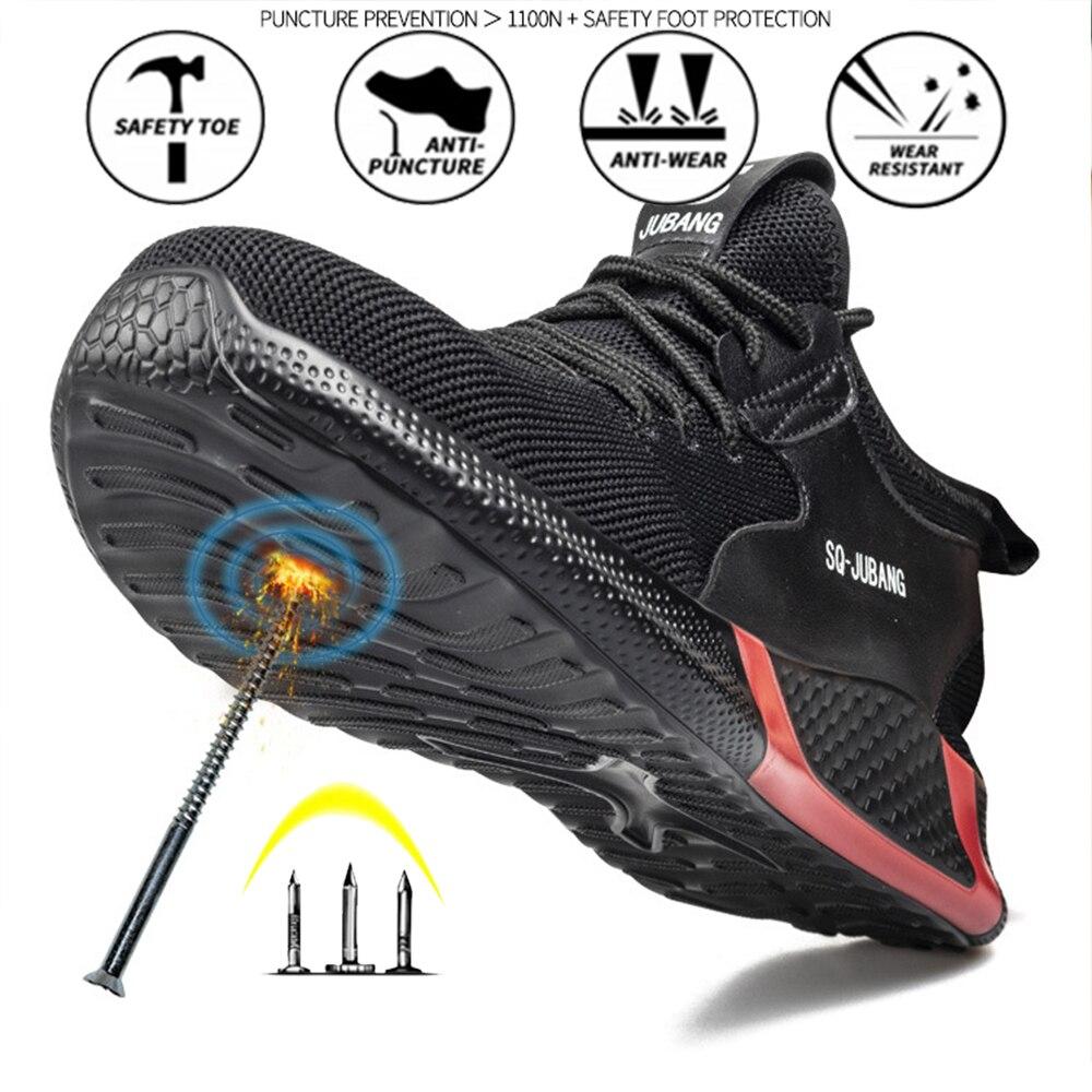 غطاء صلب لأصبع القدم أحذية أمان جديد غير رسمي لينة مقاومة للاهتراء ثقب مقاومة السلامة أحذية عمل واقية
