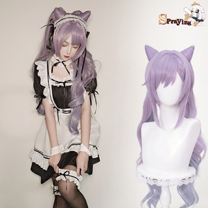 Genshin Impact Wig Keqing Cosplay Lavender Gradient 80cm Long Heat Resistant Synthetic Wigs Halloween MasqueradeHairAnimeClothes