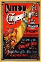california cornucopia of the world in fruits and vegetables farm usa travel vintage poster wall decoration tin sign