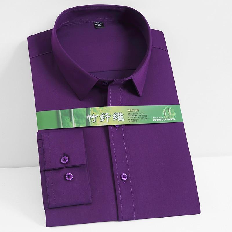 Smooth Mens Spandex Solid Plain Dress Shirts Full Sleeve Bamboo Fiber Comfortable Anti-Wrinkle Fit Casual pocketless shirt
