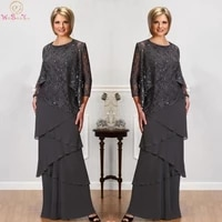 gray lace mother of the bride dresses long sleeves jackets jewel neck sequined evening gowns floor length wedding guest gown