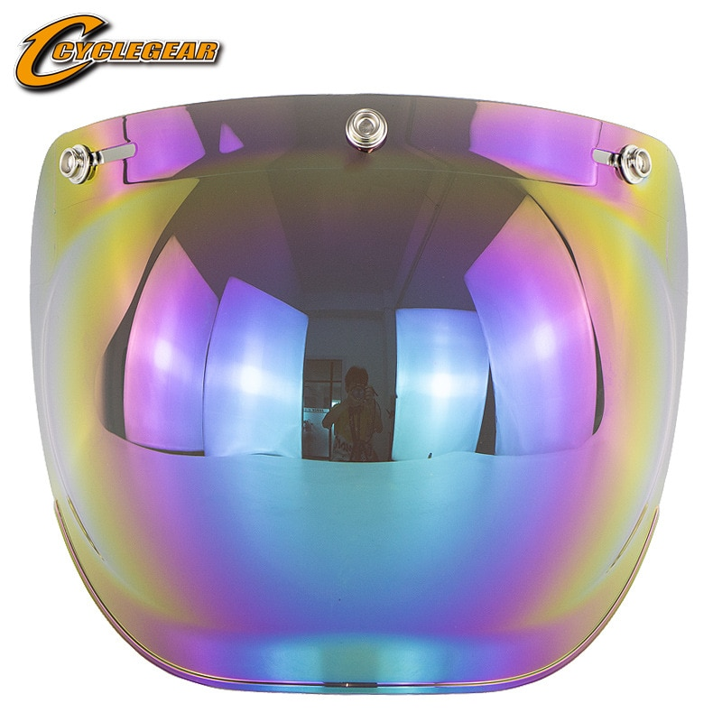 Motorcycle helmet retro helmet BUBBLE Lens three button helmet windproof anti glare lens with bracket protective lens vcoros straight 3 snap bubble shield motorcycle helmet visor retro scooter lens with flip up vintage helmet