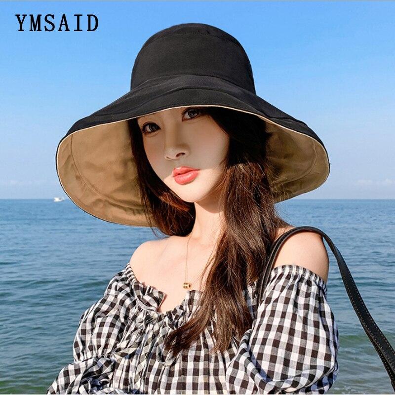 New Summer Women Elegant Wide Brim Sun Hats Double-sided Foldable Sunscreen Hat Cotton Anti-UV Travel Beach Cap Flat Bucket Cap