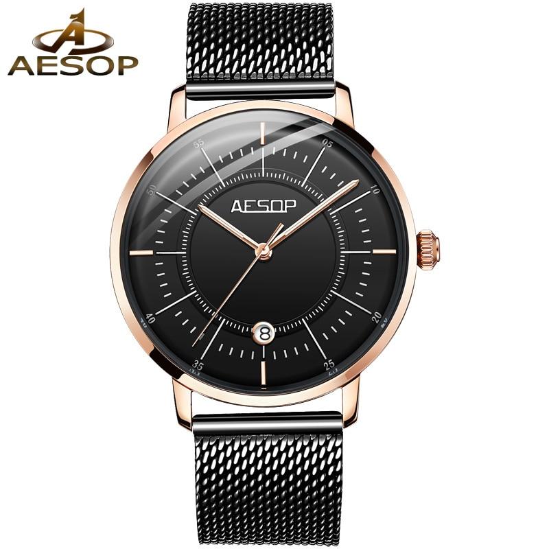AESOP Brand Fashion Automatic Watch Man Waterproof Luminous Business Calendar Mechanical Wristwatches Luxury Relogio Masculino