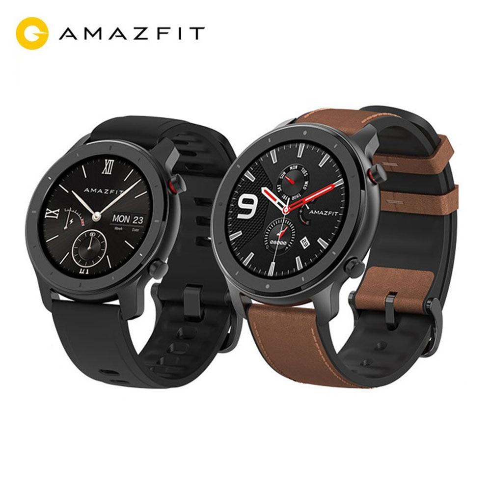 Глобальная версия Amazfit GTR 47 мм Смарт часы 5ATM водонепроницаемые умные часы 24 дня батарея gps управление музыкой кожаный силиконовый ремешок