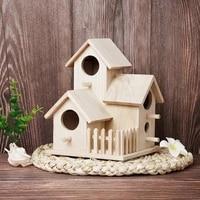 new bird house breeding cage box creative wooden feeding nest garden backyard balcony pendant simulation fence birdhouse home