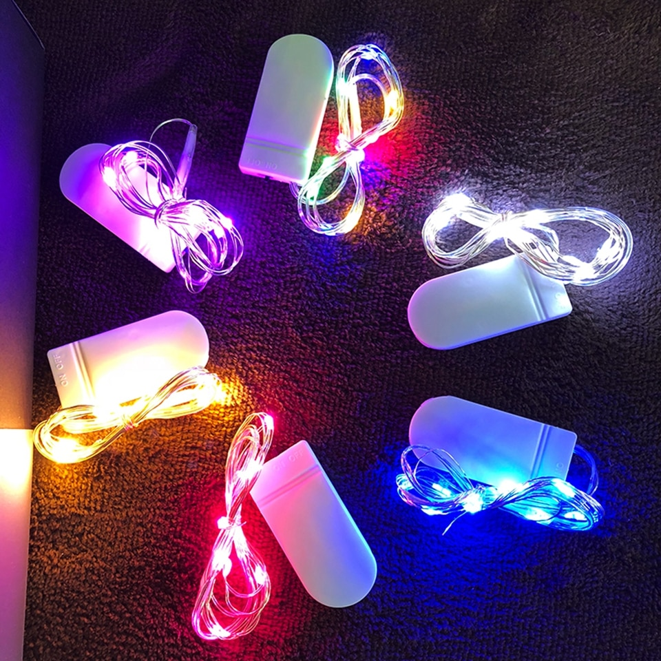 Impermeable de la luz de hadas CR2032 alimentado por batería LED Mini Luz de Navidad tiras de luz con cable de cobre para guirnalda para Navidad o boda fiesta