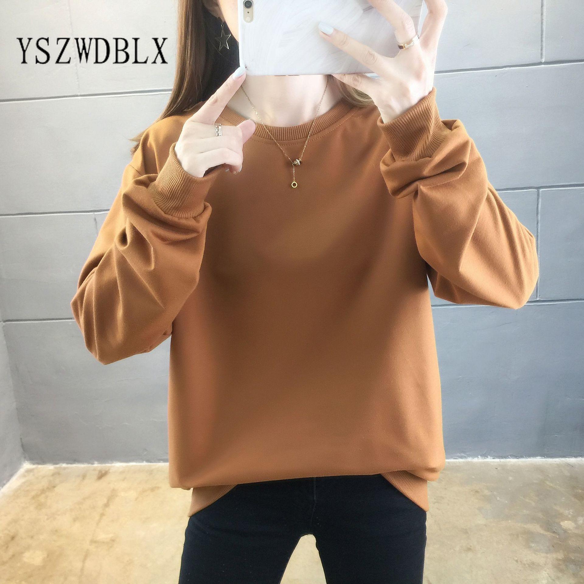 Весна-Осень 2021, женские свитшоты, хлопковая однотонная свободная стильная одежда с длинным рукавом для подростков, свитшот с круглым вырезо...