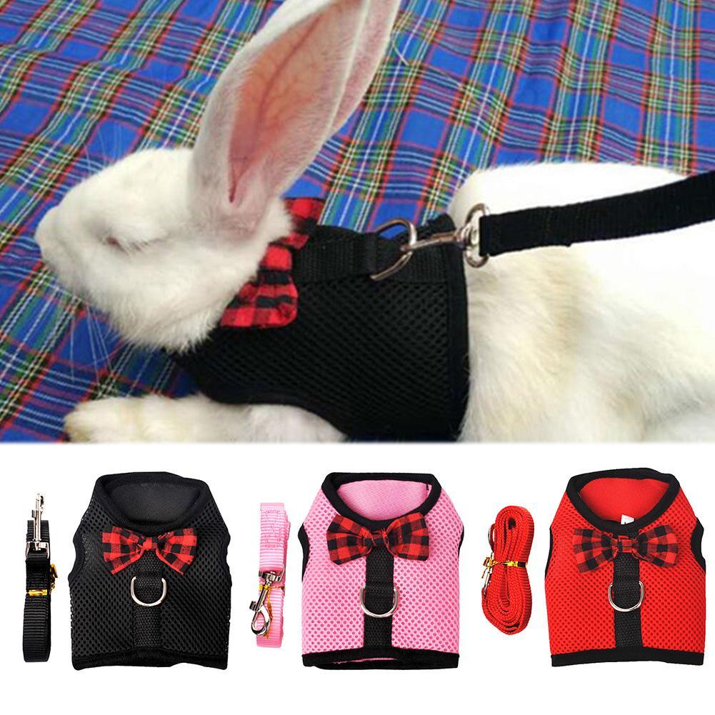 Small Animal Rabbits Hamster Vest Harness Walking Soft Bowknot Mesh Chest Strap