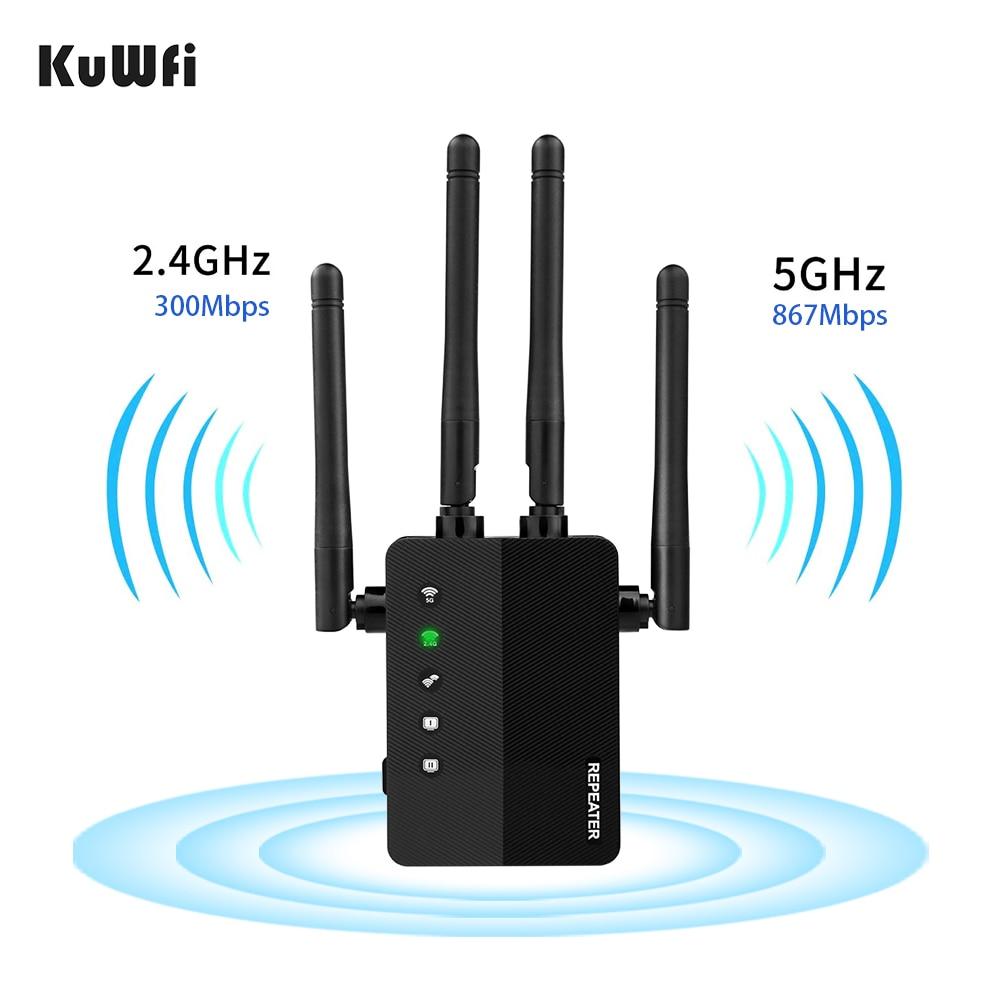 KuWFi Repetidor Wifi inalámbrico de doble banda 1200Mbps rango Wifi extensor Wi-Fi...