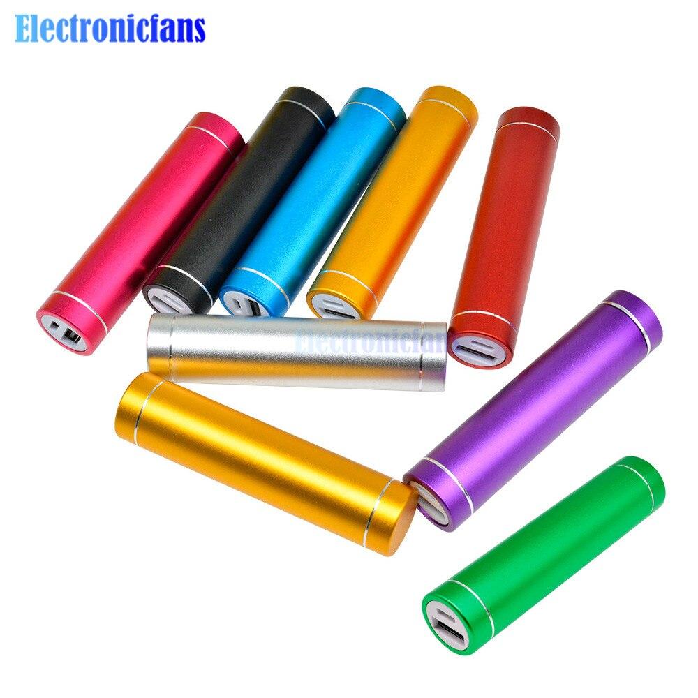 Multicolorido metal power bank kit diy caixa de armazenamento soldagem livre terno 1x 18650 bateria 5 v 1a usb carregador externo telefone inteligente