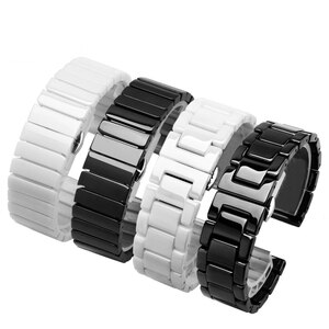 PEIYI Pearl ceramics strap 20mm 22mm watchband Suitable for Huawei watch 2 GT PRO black white bracelet  Quick release