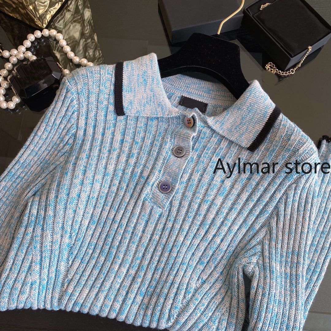 High quality 2021 autumn winter new women's gradient color simple fashion long sleeve top Lapel knitted sweater argyle sweater enlarge