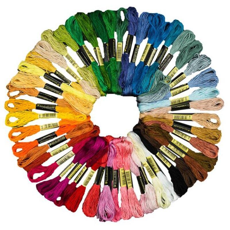 12 шт., разноцветные нити для вышивания, полиэстер, хлопок