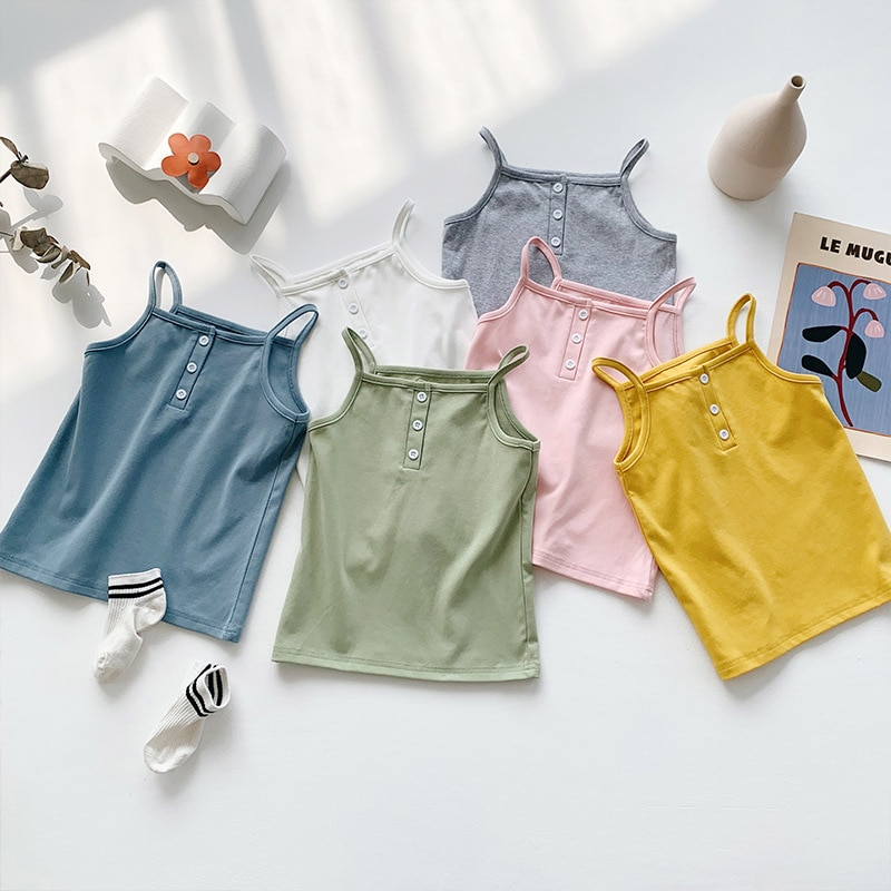 2020 verano niños coreanos niñas occidentales bebé Tanktop Chaleco de algodón fino niñas chaleco