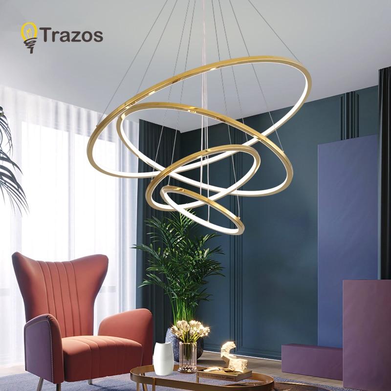 Candelabro Led moderno con 5 anillos, iluminación LED de araña montada en el techo circular para sala de estar, comedor, cocina, blanco y negro