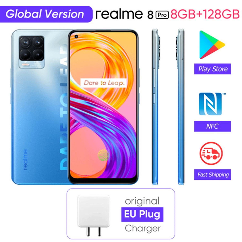 Перейти на Алиэкспресс и купить Realme 8 Pro глобальная Версия 8GB 128GB 108MP камера Snapdragon 720G смартфон 6,4 ''AMOLED 50W SuperDart Зарядка Поддержка B2/4 NFC