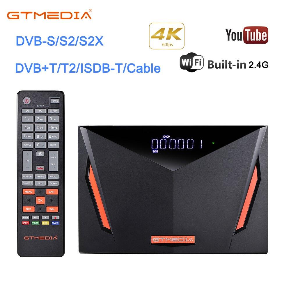 GTmedia V8 UHD TV satélite recibidor compatible con H.265 DVB-S/S2/S2X H.265 4K Ultra HD construido en WIFI Cline para 1 año Freesat ccam