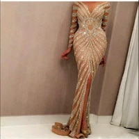 yousef aljasmi 2020 luxury long sleeve champagne sequined mermaid evening dresses sexy sheer jewel neck front split prom gowns c