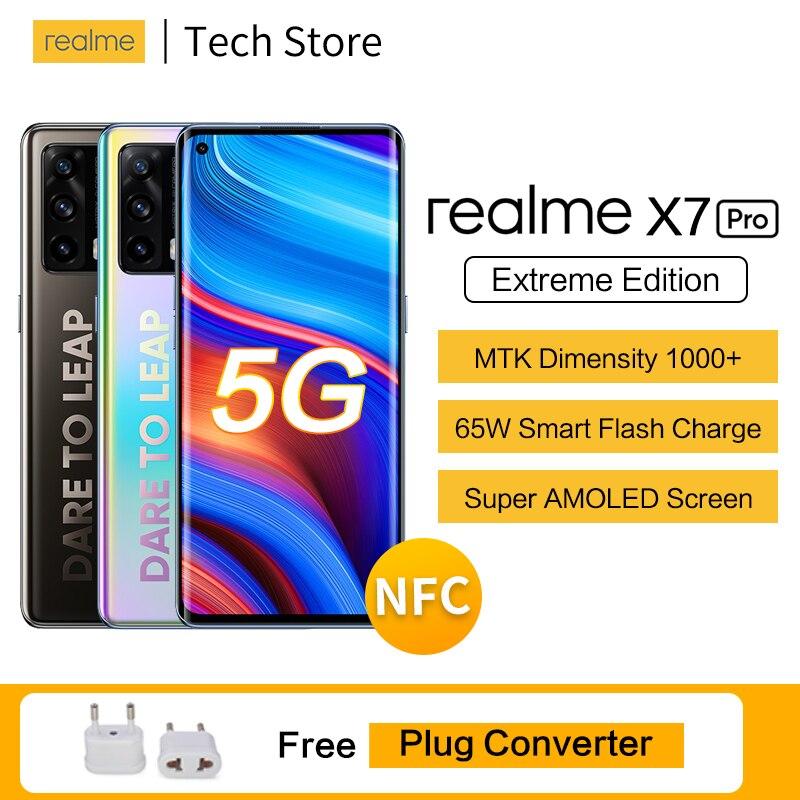 Перейти на Алиэкспресс и купить Realme x7 pro Extreme Edition 5G 64MP Камера MTK Dimensity 1000 + 65 Вт смарт-мгновенная зарядка 12 Гб 256 90 Гц Super AMOLED смартфон