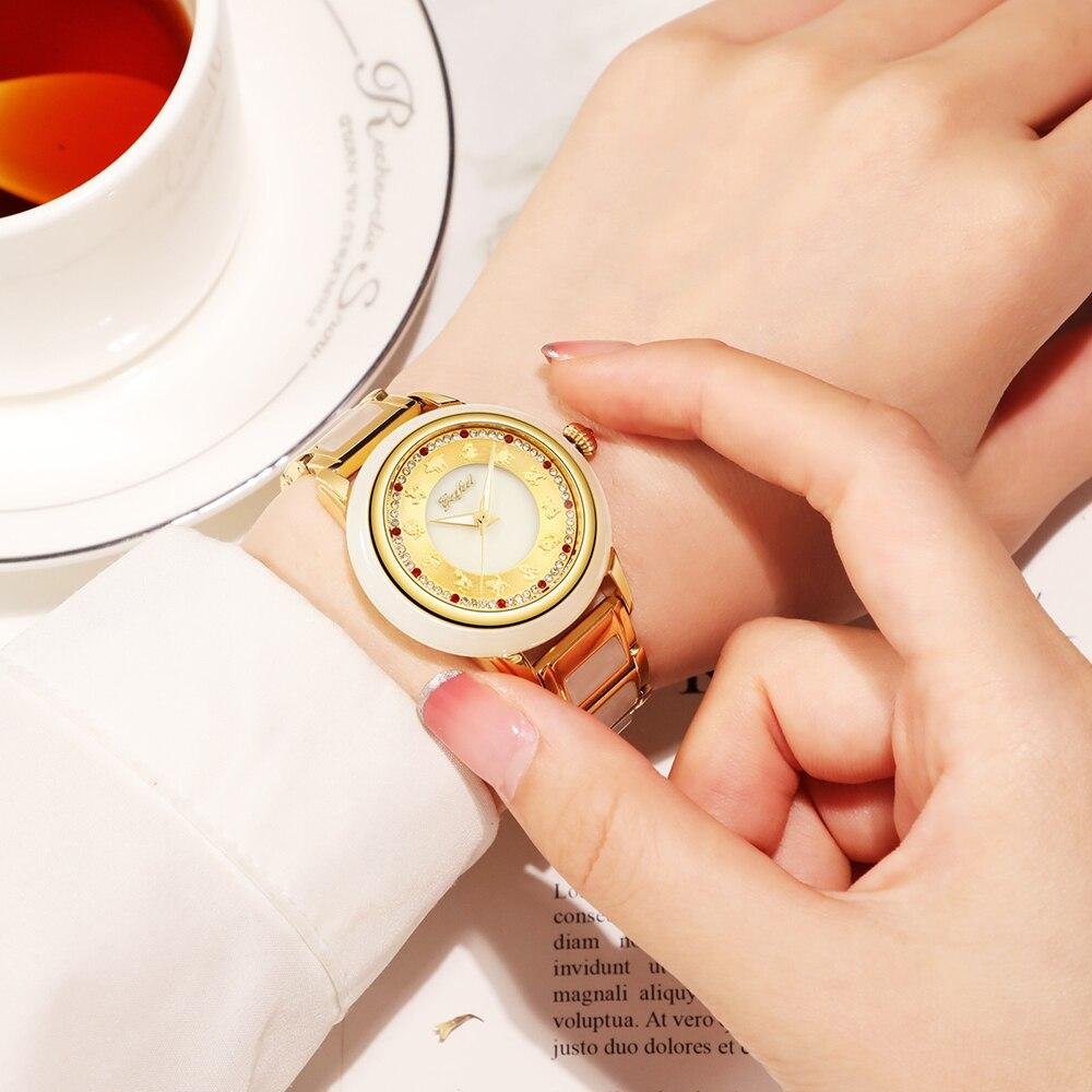 GEZFEEL Ladies Jade Mechanical Watch Stainless Steel Watches Waterproof Woman Wristwatch Factory Direct Sales Relojes Para Mujer enlarge