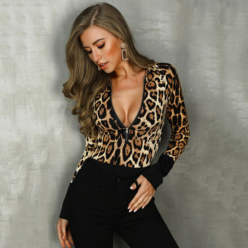 2019 Winter Women Sexy Bodysuit Autumn Fashion Casual Long Sleeve Leopard Printed Bodycon Bodysuit Body For Women