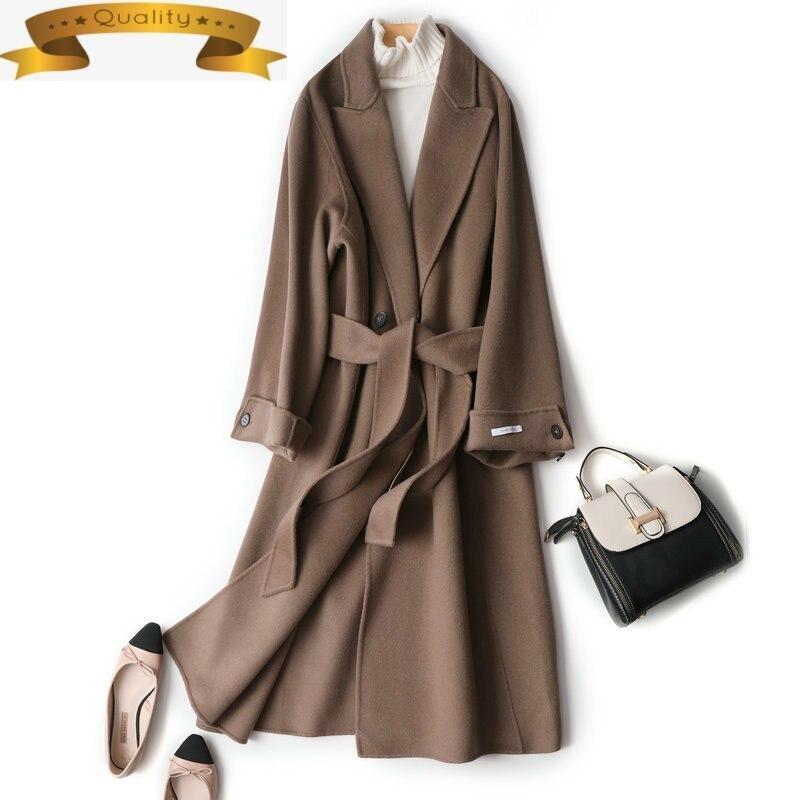 Abrigo largo de lana para mujer, chaqueta negra y marrón de gran...