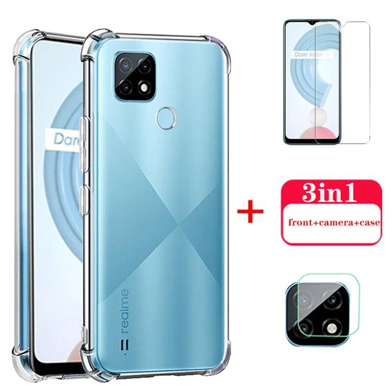 realmy c21 glass transparent soft silicone cover for realme c21 c 21 21c case camera lens protective