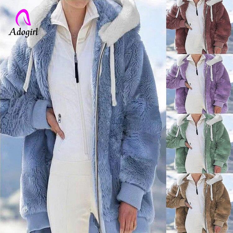 Пушистое плюшевое пальто, женские зимние куртки, Женское пальто с капюшоном, теплое пушистое пальто с длинным рукавом, Женская куртка 5XL