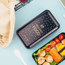 Boîte à Lunch en PP étanche   Double boîte à déjeuner noire de Style nordique avec couverts, boîte à déjeuner pour enfants étudiants adultes séparée
