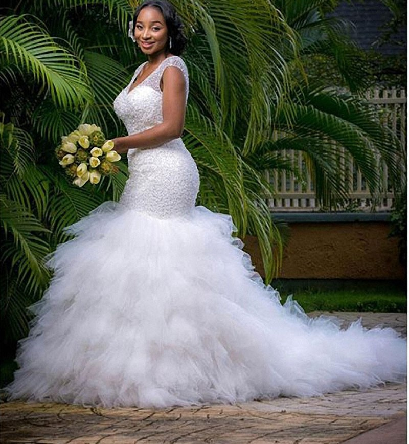 Nova chegada áfrica design incrível completa beading sereia vestido de casamento deslumbrante babados em camadas vestidos de casamento 2020