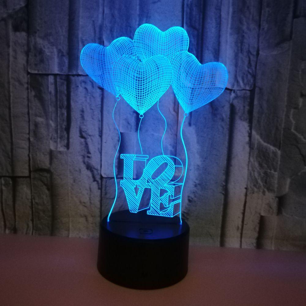 3D Hologram Love Heart Light Heart Shaped Balloon Acrylic Night Light Four Love Heart Double Love Heart