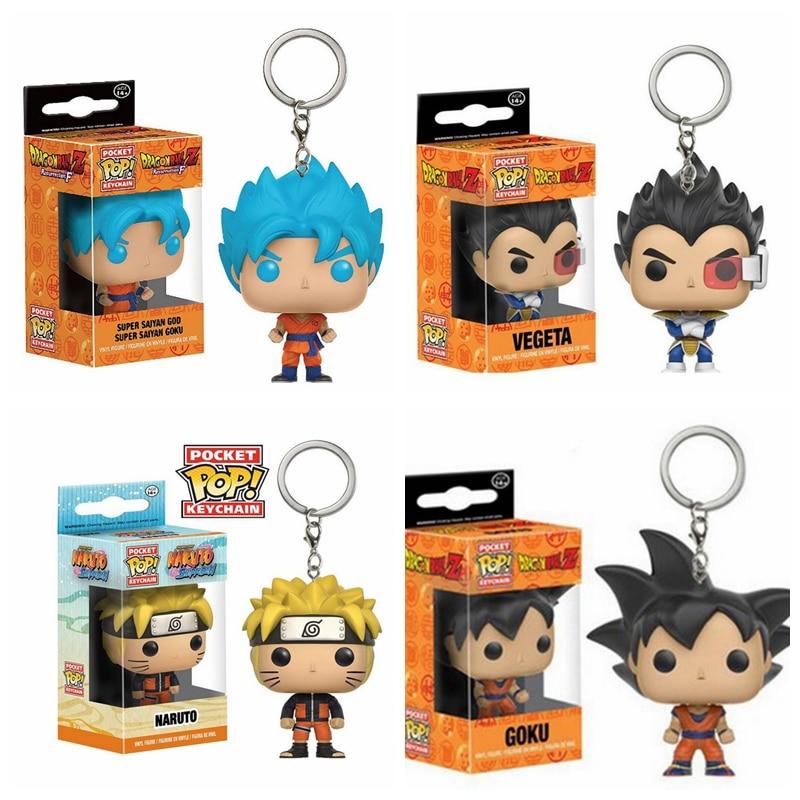 Dragon Ball Keychain Q Version Doll Pop Key Chain Holder Goku Vegeta Super Saiyan Goku Key Protector Gift for Fans