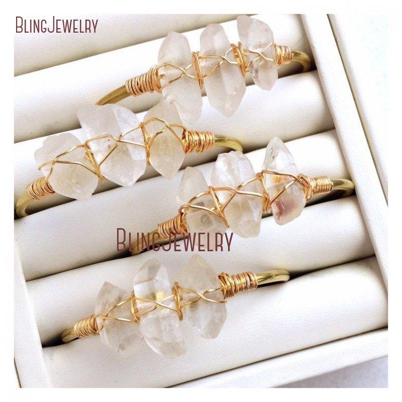Review Rustic Bridal Jewelry Wire Wrap Crystal Quartzs Raw Crystal Jewelry Clear Quartz Cuff Bracelet Bracelet BM27710